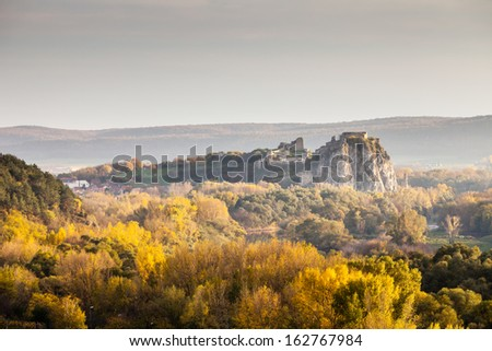 Famous historical castle Devin is located at the confluence of rivers Danube and Morava near Bratislava - capital city of Slovakia and boarders of Slovakia with Austria and Czech republic. - stock photo