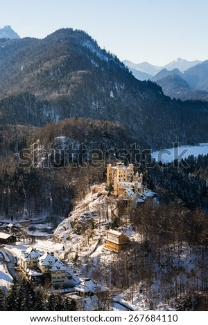 Famous hohenschwangau castle in the winter, Bavaria, Germany - stock photo