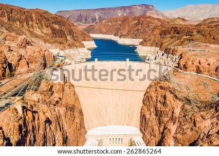 Famous Hoover Dam at Lake Mead, Nevada and Arizona Border, United States. - stock photo