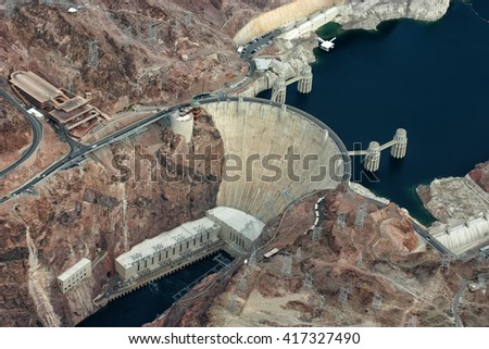 Famous Hoover Dam between Arizona and Nevada, USA - stock photo