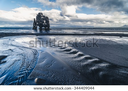 famous Hvitserkur rock formation, Iceland - stock photo