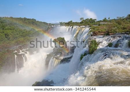 Famous Iguazu fallson the border between Argentina and Brasil - stock photo
