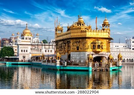 Famous indian landmark - Sikh gurdwara Golden Temple (Harmandir Sahib). Amritsar, Punjab, India - stock photo