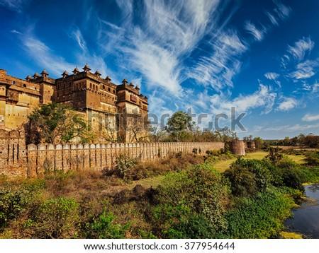 Famous indian tourist landmark - Orchha palace, Madhya Pradesh, India - stock photo