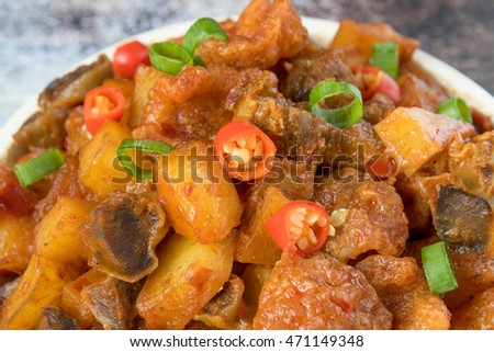 Famous Indonesian Food Spicy Diced Potatoes with Chicken Liver / Sambal Goreng Hati