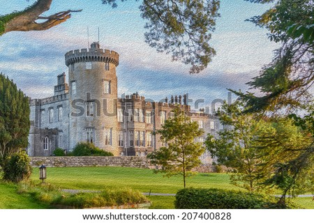 famous irish dromoland castle hotel oil painting - stock photo