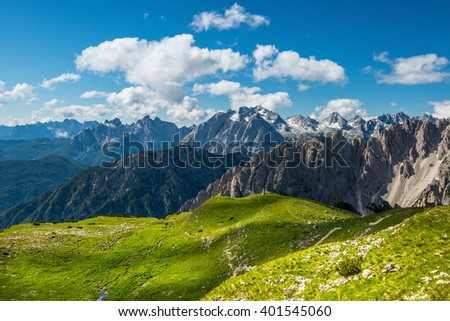 famous Italian National Park Tre Cime di Lavaredo. Dolomites - stock photo