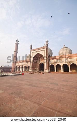 famous Jama Masjid Mosque in old Delhi, India - stock photo