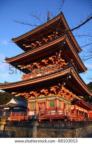 Famous japanese pagoda in Kiyomizu-dera temple (Kyoto) - stock photo