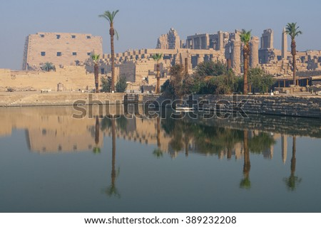 Famous Karnak temple complex of Amon Ra in Luxor, Egypt - stock photo