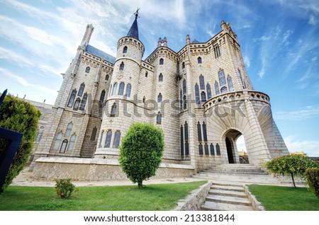 Famous landmark Astorga Epsiscopal Palace, in Astorga, Leon, Spain. - stock photo