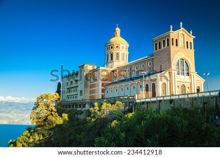 Famous landmark of Sicily - Black Madonna Church in Tindari - stock photo