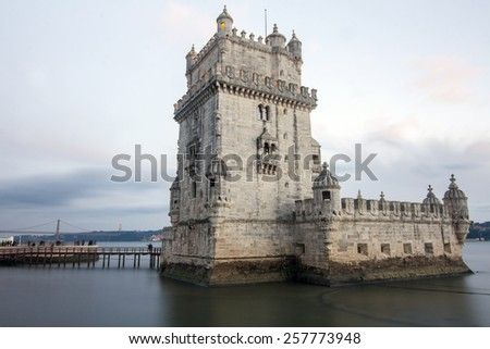 Famous landmark, Tower of Belem, located in Lisbon, Portugal. - stock photo