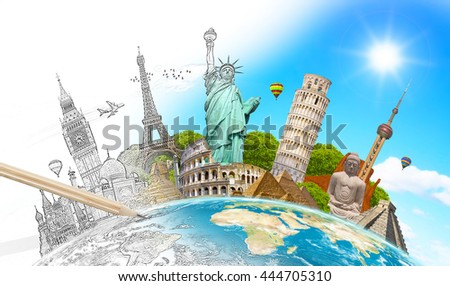 Famous landmarks of the world with hand-drawn effect 'elements of this image furnished by NASA' '3D rendering' - stock photo
