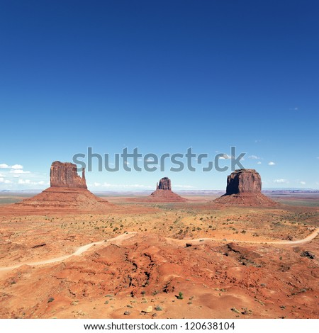 famous landscape of Monument Valley, Utah, USA. - stock photo