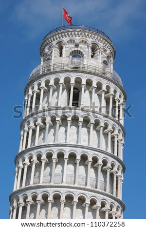 Famous Leaning Tower in Pisa close up shot on piazza dei Miracoli.