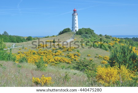 famous Lighthouse on Hiddensee Island near Ruegen island at Baltic Sea,Mecklenburg western Pomerania,Germany - stock photo
