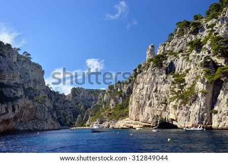 Famous limestone cliffs in a calanque near Cassis France  - stock photo