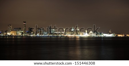 Famous Liverpool City Skyline - stock photo