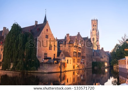 Famous location the Rozenhoedkaai, at night in Bruges, Belgium