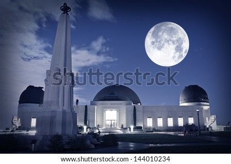 Famous Los Angeles Observatory - Griffith Observatory. Science Photography Collection. Griffith Observatory Los Angeles, California USA. - stock photo