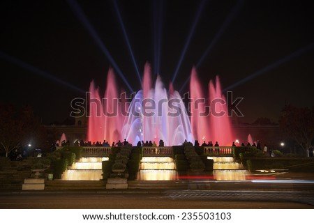 Famous Magic Fountain light show in Barcelona, Spain