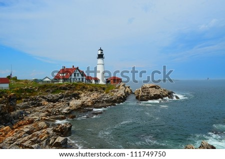 Famous Maine Lighthouse at Portland Headlight in Cape Elizabeth. - stock photo