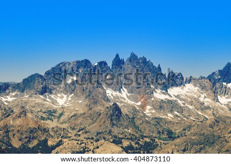 Famous Mammoth Mountain Minarets in Ritter Range seen from the Main Lodge. - stock photo