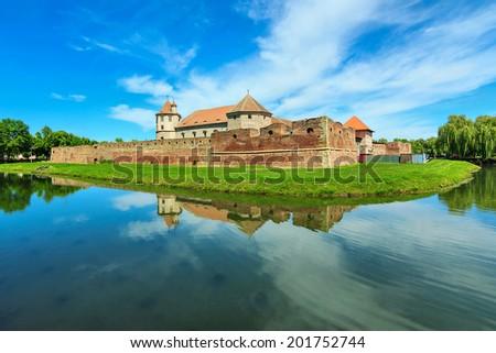 Famous medieval castle,Fagaras,Transylvania,Romania - stock photo
