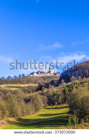 famous medieval Leuchtenburg near Kahla under blue sky