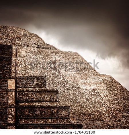 Famous Mexican pyramid, ancient religious ruins on North America, overcast weather, cloudy sky, pre-columbian architecture, Aztec heritage  - stock photo