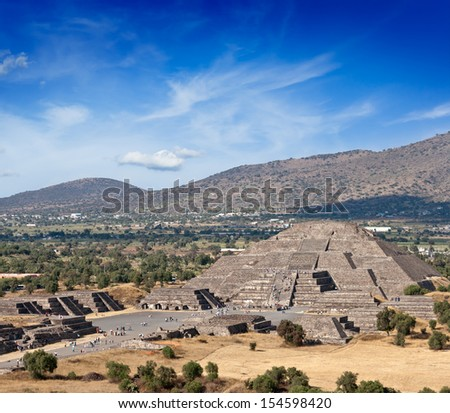 Famous Mexico landmark tourist attraction - Pyramid of the Moon, view from the Pyramid of the Sun. Teotihuacan, Mexico - stock photo