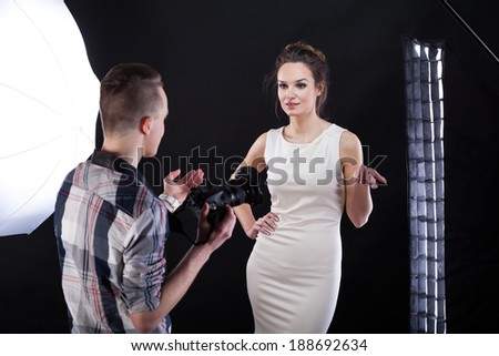Famous model arguing with a young photographer