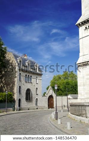 Famous Montmartre district scene in Paris, France - stock photo