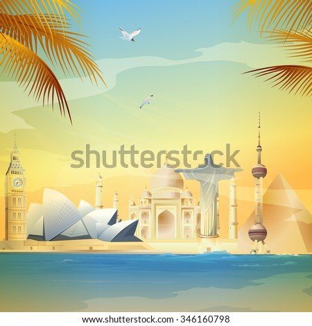 Famous monuments and landmarks around the world - stock photo
