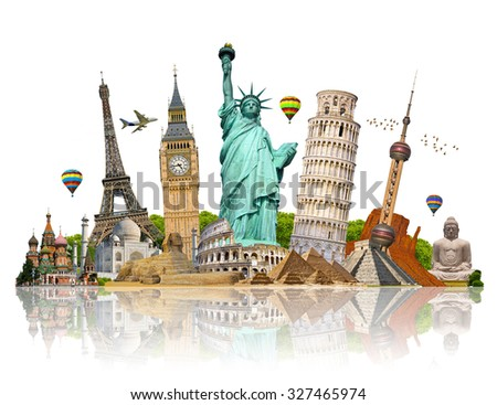 Famous monuments of the world grouped together - stock photo