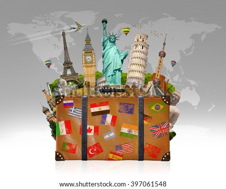 Famous monuments of the world grouped together in a travel bag - stock photo
