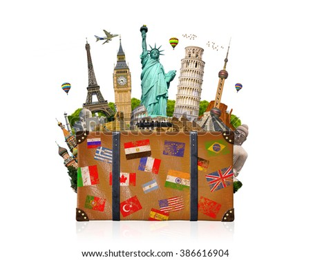 Famous monuments of the world grouped together in a travel bag on white background - stock photo