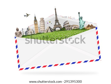 Famous monuments of the world grouped together in an envelope - stock photo