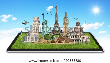 Famous monuments of the world grouped together on a digital tablet - stock photo