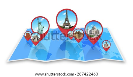 Famous monuments of the world grouped together on a map with pin icon - stock photo