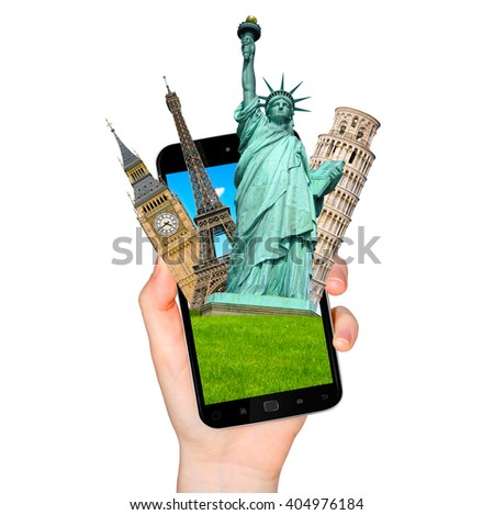 Famous monuments of the world grouped together on a modern mobile phone on white background - stock photo