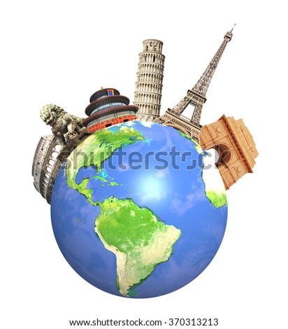 Famous monuments of the world grouped together on Earth. Isolated on white background. Elements of this image furnished by NASA.