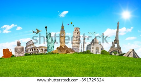Famous monuments of the world grouped together on green grass - stock photo