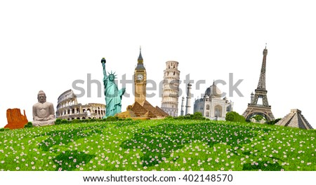 Famous monuments of the world grouped together on green grass on white background - stock photo