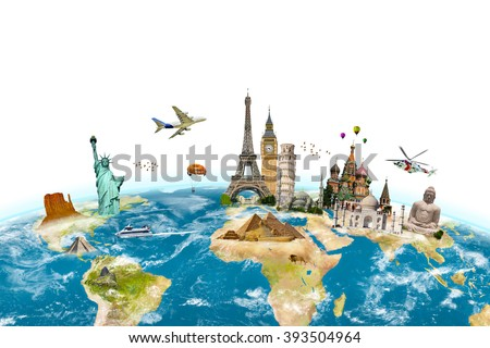 Famous monuments of the world grouped together on planet Earth on white backgound - stock photo