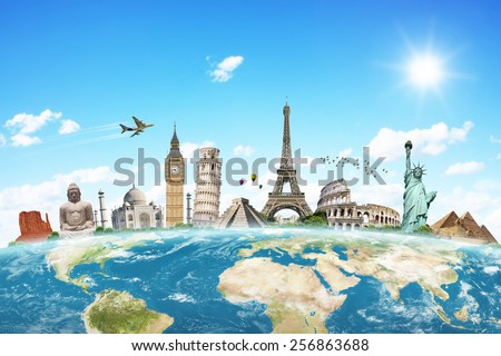 Famous monuments of the world grouped together on the planet Earth - stock photo