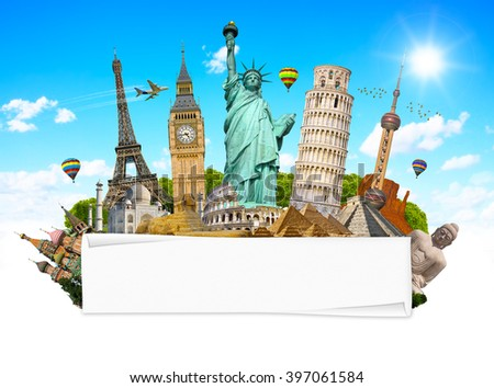 Famous monuments of the world grouped together with blank rolled paper - stock photo