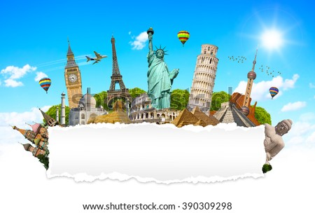 Famous monuments of the world grouped together with blank torn paper - stock photo