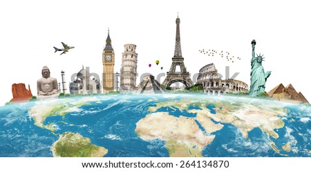 Famous monuments of the world illustrating the travel and holidays 'Elements of this image furnished by NASA' - stock photo